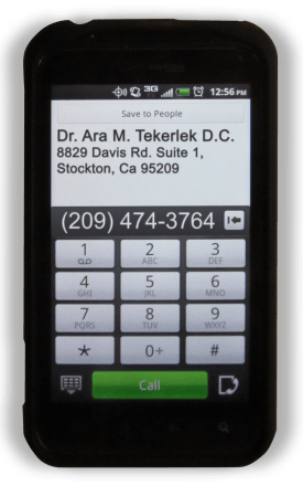 Android phone with contact information